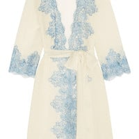 Rosamosario - Bollicine Love Chantilly lace-trimmed printed silk-georgette robe