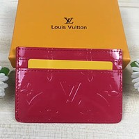 LV Louis Vuitton new patent leather embossed letters men and women card case wallet Bag