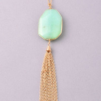 Stone and Tassel Necklace - Mint, Black, Turquoise, Natural or Peach