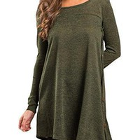 LOSRLY Women Long Sleeve Scoop Neck Solid T-Shirt Casual Asymmetrical Knit Tunic Tops With Side Buttons