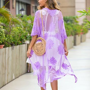 New lace embroidered dress with cardigan, bikini, swimsuit, beach blouse, sun protection purple
