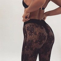 Summer Lace Beach Vacation See Through Boot Cut Pants [1414815252577]