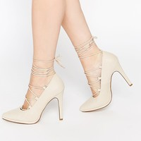 Call It Spring Tortosa Nude Tie Up Heeled Court Shoes