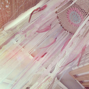 Hanging Mobile Canopy - Laces Baby Crib Crown - Boho Nursery Decor - Dreamcatcher  Canopy - Various Sizes - Gypsy Bedroom - Made to Order