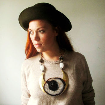 Geode Druzy Tribal Statement Necklace. Massive Agate Slice And Brass.