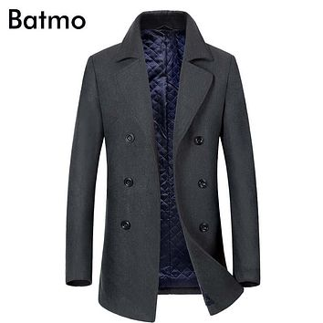 Batmo 2017 new arrival winter high quality wool men's Double Breasted trench coat,winter coat men ,plus-size 1883