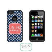 Otterbox Commuter Apple iPhone 5 5s Personalized Cell Phone Case Custom Color Ikat Initials Sorority Monogram Protective Hard Cover OB-1062