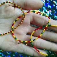 Tiny Seed Bead REGGAE  Bracelets SET of 3 Red Yellow Green RASTAFARIAN Jewelry