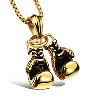 Shiny New Arrival Gift Jewelry Stylish Gloves Titanium Pendant Strong Character Men Fitness Workout Necklace [10422078019]