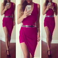 summer dress 2015 new asymmetrical Dress sexy party elegant bandage casual mini short sleeveless red black grey white prom evening Cocktail bodycon nightclub Dress = 1946417988