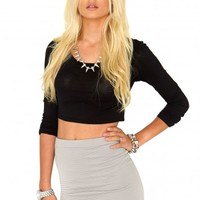 Missguided - Adula Ribbed Bodycon Skirt In Grey