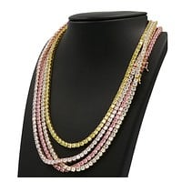 "Quality 4 Prong Multi Color Choker Tennis Necklace Set Lab Diamond 5mm 18-24"" Chain Set."
