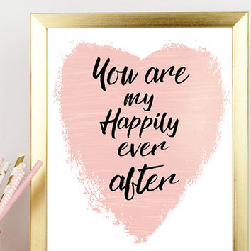 Love wall art-Printable love wall art-Love wall print-Digital love print-Love art print-Happily ever after print-Gift for her-Gift under 10