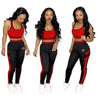 Champion Tide brand women's outdoor sports tight-fitting two-piece suit Red