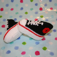 Baby boy booties high tops crochetyknitsnbits high quality baby boy clothes black white red layette baby shower gift Newborn to 3 months
