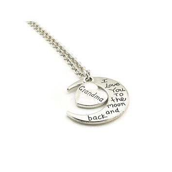 I Love You to the Moon and Back Grandma Necklace Handmade