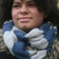 Womens Knitted Infinity Scarf, Light Circular Scarf, Scarf with stripes, Gift for Her, READY TO SHIP! Womens accessories