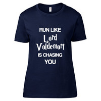 Harry Potter Inspired Fitness Clothing - Run Like Lord Voldemort is Chasing You Crew Neck - Ladies