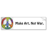 Make Art, Not War.-peace sign Bumper Stickers from Zazzle.com