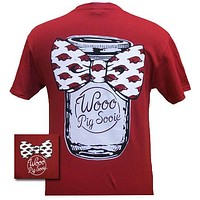 Arkansas Razorbacks Hogs Mason Jar Big Bow Girlie Bright T Shirt