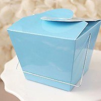 12 Blue Chinese Asian Small Take Out Boxes Easy Close Top Favors Cupcake Holder