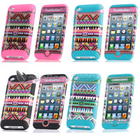 DELUXE 3PIECE TRIBAL HARD CASE COVER SKIN FOR IPOD TOUCH 4 4G 4TH GEN+PROTECTOR