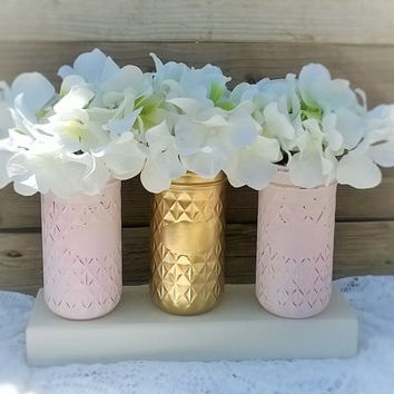 Painted Mason Jar Decor Pink And From Godgirlsandglitter On Etsy