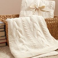Ecru Classic Chunky Cable 100% Cotton Throw (50