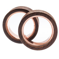 """Chechen With Rose Gold IP Plated Inlay Plugs (1 1/4"""") #7644"""