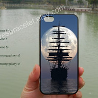 MOON-SHIP iPhone 5 case cover,Awesome Sailboat Night Moon,iPhone 5C case,Iphone 5 cover,iPhone 5S case,Samsung Galaxy S3 S4,iPhone 4/4S-380
