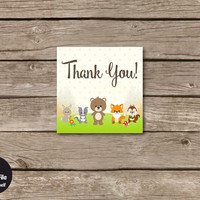 Woodland Baby Shower Thank You Favor Tags, Printable Party Decoration, Instant Download, Forest Animals, Gender Neutral Baby Girl and Boy