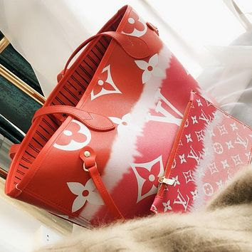 LV Louis Vuitton New fashion monogram print leather shoulder bag women handbag Red