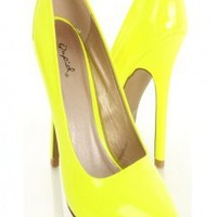 Neon Yellow Patent Faux Leather Pointed Closed Toe Heels @ Amiclubwear Heel Shoes online store sales:Stiletto Heel Shoes,High Heel Pumps,Womens High Heel Shoes,Prom Shoes,Summer Shoes,Spring Shoes,Spool Heel,Womens Dress Shoes,Prom Heels,Prom Pumps,High H