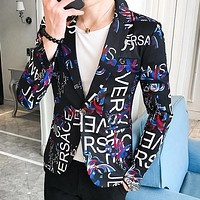 VERSACE Fashion Men Personality Print Slim Cardigan Jacket Coat