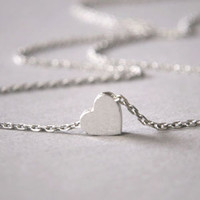 Sterling Silver Heart Necklace White Gold from kellinsilver.com