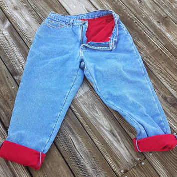 Vintage LL Bean Fleeced Lined Jeans - High Waisted Jeans - Size S / M