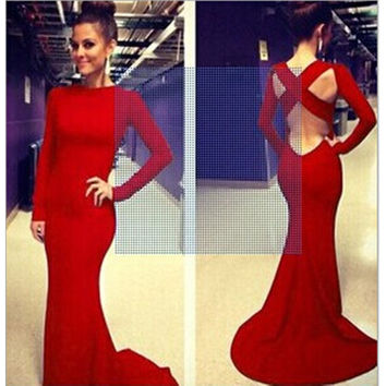 Sexy Women Backless Prom Gown Bodycon Ball Party Evening Formal Maxi Long Dress Red