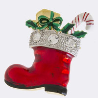 GLOSSY CHRISTMAS BOOTS ACCENT BROOCH PENDANT