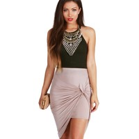 Olive Drop The Top Ribbed Crop
