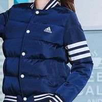 """Adidas"" Women Men Simple Fashion Stripe Zip Cardigan Long Sleeve Cotton-padded Clothes Coat Couple Coat"