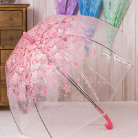 Clear Umbrella Fashion Transparent Cherry Blossom Mushroom Apollo Princess Women Rain Umbrella Sakura Long Handle Umbrellas