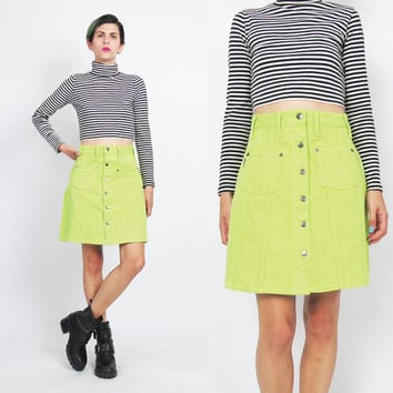 90s Button Front Mini Skirt Neon Yellow Mini Skirt High Waist Skirt Colored Denim Skirt Pockets Highlighter Rave Vintage A Line Skirt (S)