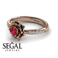 Unique Rose Engagement Ring Diamond ring 14K Red Gold Flower Vintage Antique Engagement Ring Ruby With Ruby - Elena