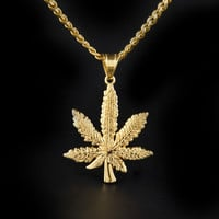 Men's 18k Real Gold Plated Dense Leaf Pendant Necklace