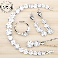 Women White Zircon Silver 925 Jewelry Sets Bracelets Pendant Necklace Rings Earrings With Stones Set Jewelery Free Gift Box