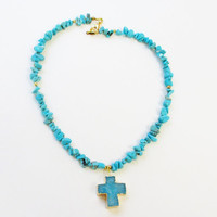 Blue Druzy Cross Necklace, Turquoise Chip Beaded Gold Necklace, 24K Gold Plated Necklace, Gold Dipped Druzy Cross Pendant, Baptism Prom Gift