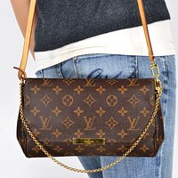 Louis Vuitton LV Letter Print Flap Shoulder Bag Messenger Bag Chain Shopping Bag