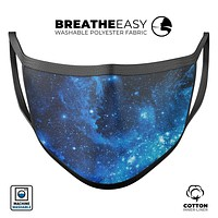 Blue Hue Nebula - Made in USA Mouth Cover Unisex Anti-Dust Cotton Blend Reusable & Washable Face Mask with Adjustable Sizing for Adult or Child