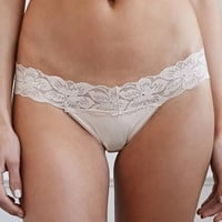 Floral Lace-Trim Thong