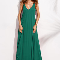 Green Sleeveless Double V-Neck Maxi Dress
